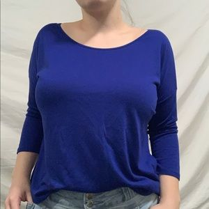 Blue 3 quarter sleeve flowy top by city streets XL